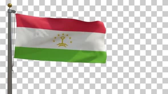 Tajikistan Flag on Flagpole with Alpha Channel