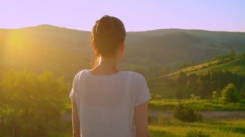 Caucasian Woman Looking Mountains Landscape