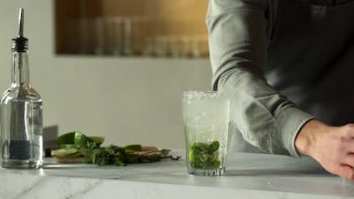 Bartender Pours Soda Into a Mojito Cocktail and Garnish with Lime and Mint