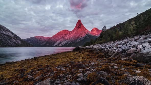 Thumbnail for Scenic  of Fading Out Sunset Over Mountain Peak and Northern Lake in the Lofoten Islands, Cloud
