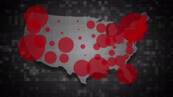 COVID19 Coronavirus Epidemic - USA Population Map 01 - 4K