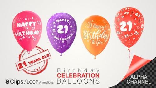 21st Birthday Celebration Balloons / Twenty-one Years Old