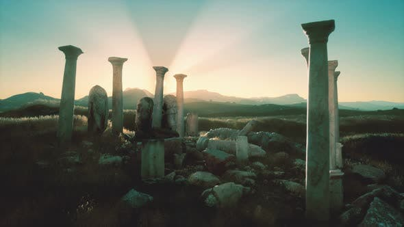Thumbnail for Old Greek Temple Ruins at Sunset