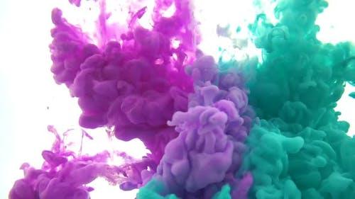 Purple Teal Paint In Water