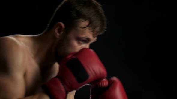 Young Sweaty Fighter Is Boxing.