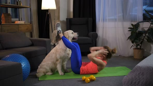 Thumbnail for Dog Assisting Female Owner Doing Crunches at Home