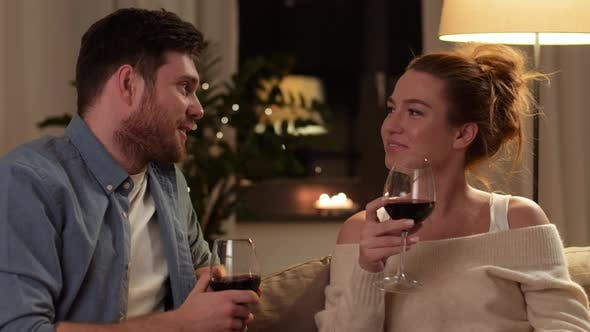 Thumbnail for Happy Couple Drinking Red Wine at Home in Evening 9