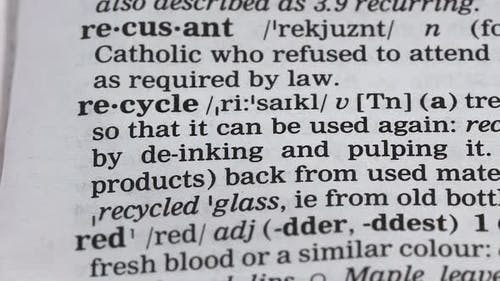 Recycle Word in Dictionary, Natural Resources Preservation, Reusable Materials