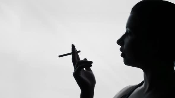 Thumbnail for Sexy junge Frau Rauchen Zigarette, verführerische Dame in Bar, Weibliche Silhouette