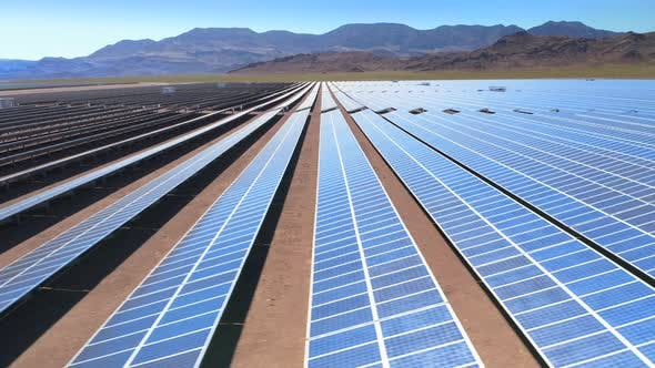 Thumbnail for Photovoltaic Panels on a Solar Farm. Eco Energy. Aerial View. . USA