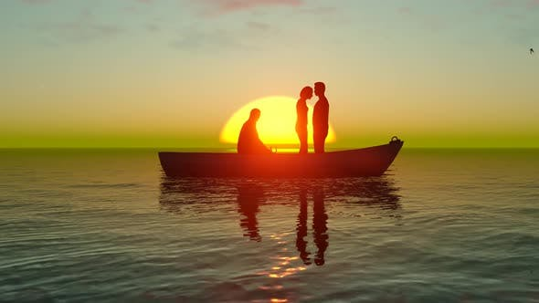 Thumbnail for Lovers on a Boat Trip And Sunset Ocean