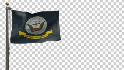 United States Navy Flag on Flagpole with Alpha Channel - 4K