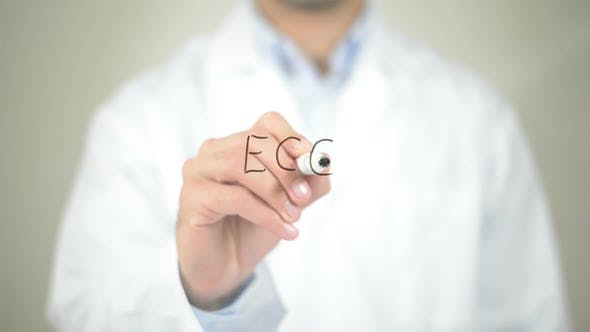 Thumbnail for ECG, Doctor Writing on Transparent Screen