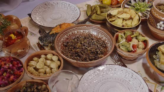 Ukrainian Traditions Various Dishes On The Holiday Table