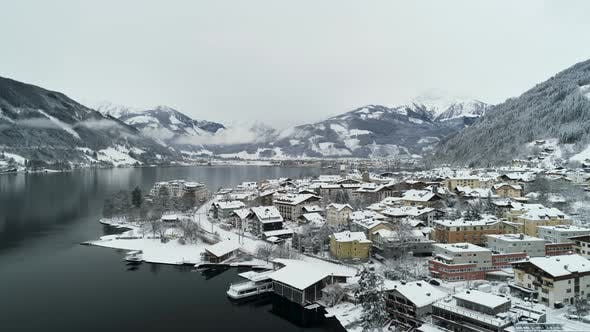 Thumbnail for Aerial View Of Mountain Town In Austria Winter Time