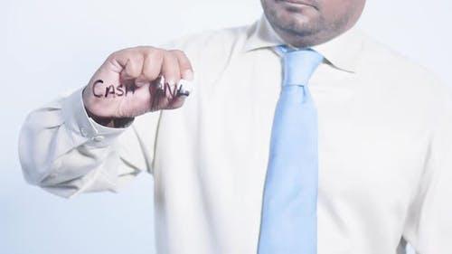 Asian Businessman Writes Cash Only