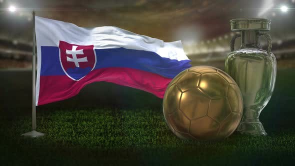 Slovakia Flag with Football And Cup Background Loop