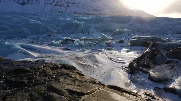 Thumbnail for Iceland Giant Blue Glacier Ice Chunks With The Sun Peaking