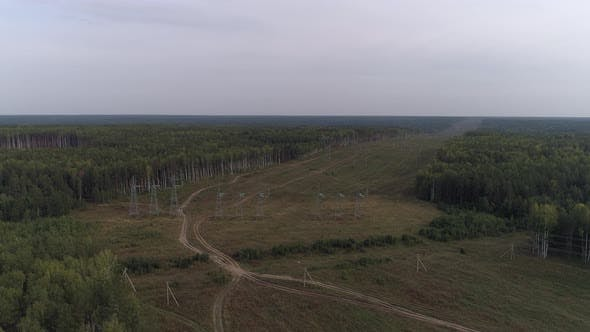 Thumbnail for Aerial view of industrial high voltage electricity power line.