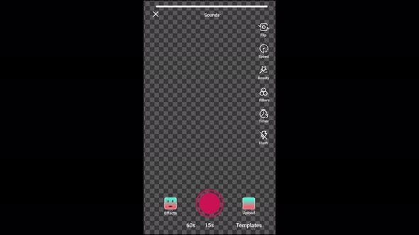 Tiktok interface animation, main me and camera recording.