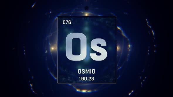 Thumbnail for Osmium as Element 76 of the Periodic Table on Blue Background in Spanish Language