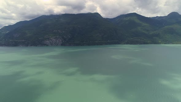 Thumbnail for Panoramic Aerial Rotating Ocean Islands And Turquoise Water Of Howe Sound By Sea To Sky Highway