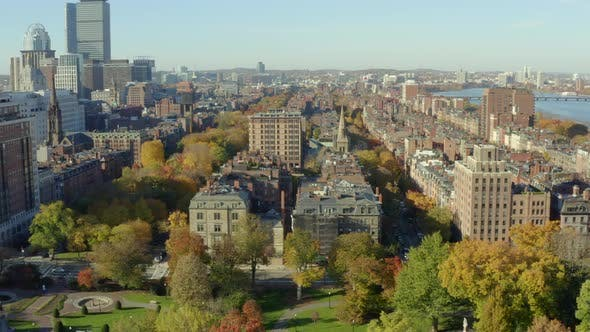 Panning south over Boston Common and Back Bay