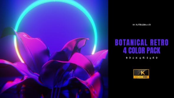 Botanical 3D Retro Background