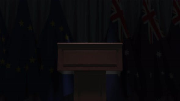 Flags of Australia and the EU at International Meeting