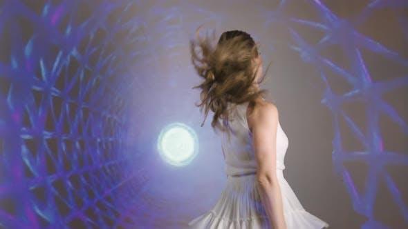 Fashion Model Woman in Neon Light Beautiful Model Girl Art Design of Female Disco Dancer Dancing in