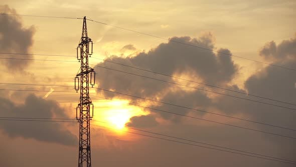Cover Image for Sunset And Power Transmission Line Tower 2