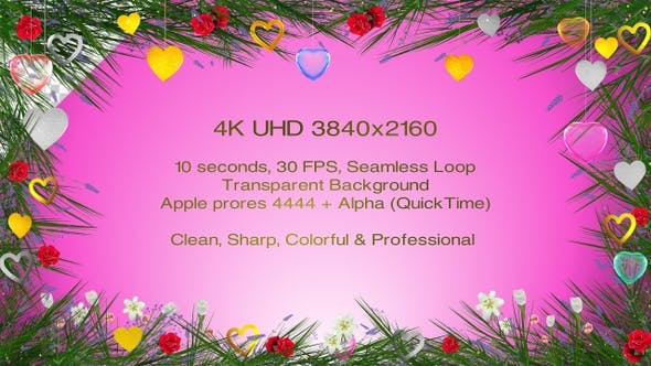 Valentines Day Decorative Frame 4k
