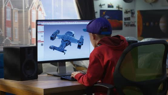 Thumbnail for Boy Designing Airplane on a Computer