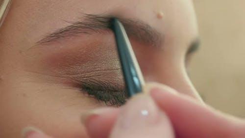 Makeup Artist Paints the Eyebrows, Doing Eyebrow Correction