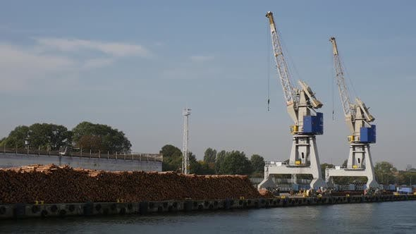 Thumbnail for Sea Shipping Port with Cargo Cranes in Gdansk city at summer day
