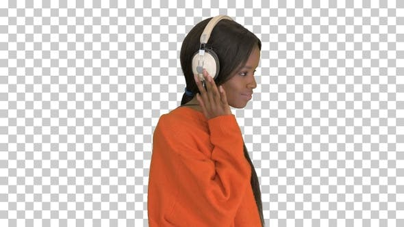 Thumbnail for Smiling african american woman with headphones, Alpha Channel