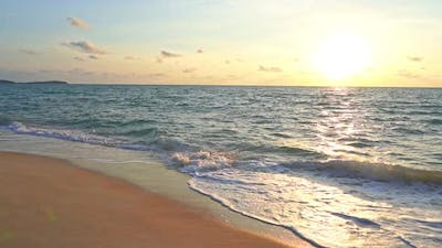 Beautiful sunset on the tropical beach and sea
