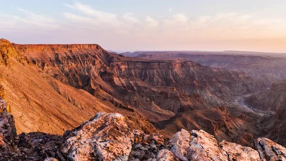 Thumbnail for Panorama from above on the Fish River Canyon, scenic travel destination in Southern Namibia