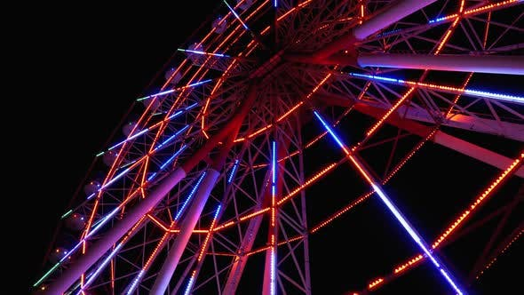 Thumbnail for Ferris Wheel with Lights Rotates at Night