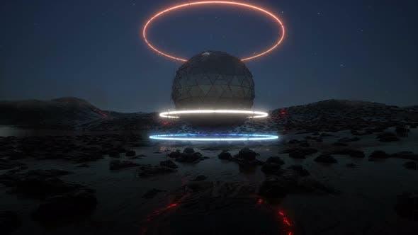 3d Neon Futurist Object on Rain Planet Modern Technology Sci Fi