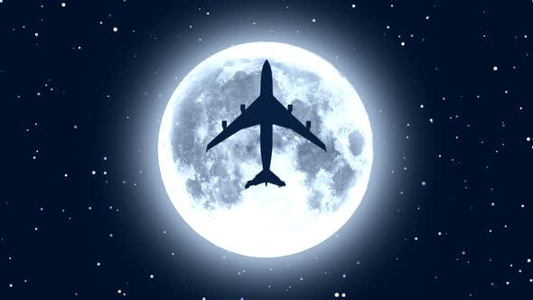 Cover Image for Passenger Airplane Flying over Moon in Starry Night