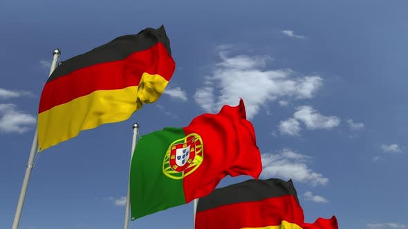 Many Flags of Portugal and Germany