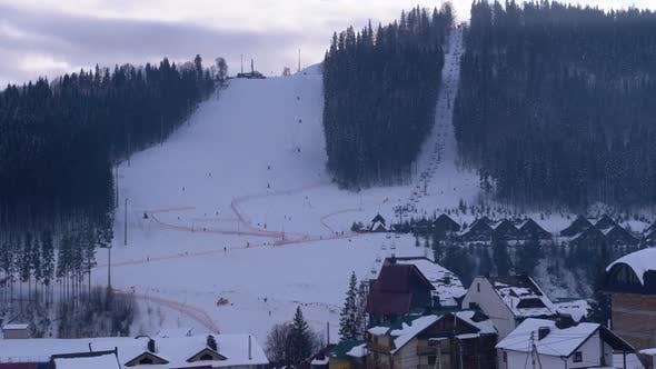 Thumbnail for Bukovel Ski Resort, View of the Ski Slope in the Resort Center