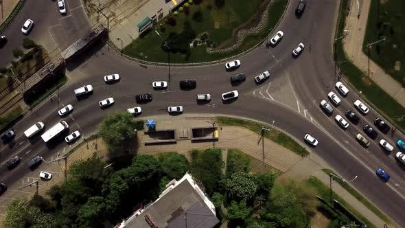 Thumbnail for Overhead Drone Shot of Busy Roundabout