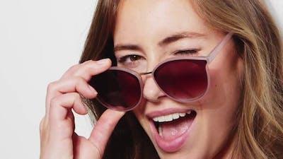 Model in Sunglasses Winking