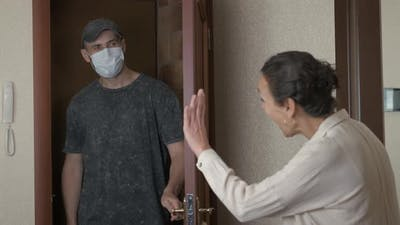 Wife Disinfects the Husband.