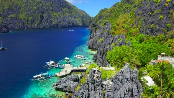 Thumbnail for Beautiful Beach in Matinloc Island El Nido Palawan Philipines Just Only a Few Steps Up To the Hill
