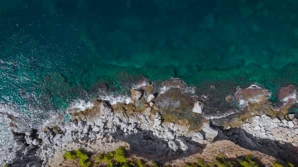 Aerial View. Beautiful Rocky Coast Near the Sea.