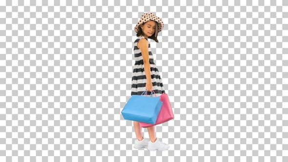 Little asian girl in a sundress and a, Alpha Channel