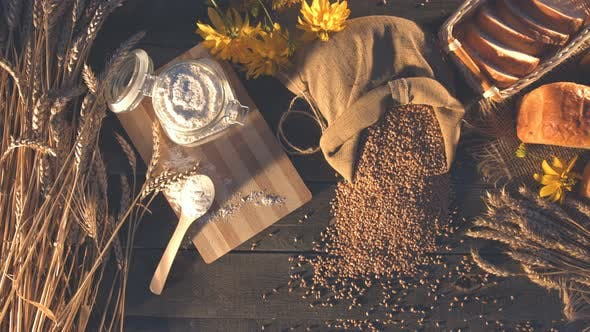 Thumbnail for Still life with Bread, Wheat, Flour and Flowers.